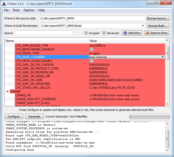 openSAFETY_DEMO: CMake